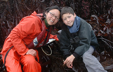 Lee and son take a break from an abalone survey
