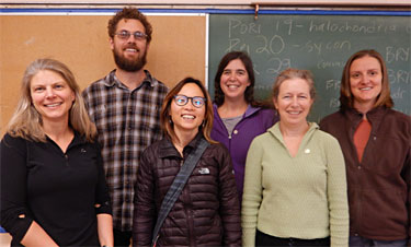 Meet the team (from left to right): Erika Anderson (Fisheries and Oceans Canada), Stuart Crawford (CHN – Marine Planning), Lynn Lee (Gwaii Haanas), Vanessa Hodes (Fisheries and Oceans Canada) and Linda McCann and Kristen Larson (Smithsonian Environmental Research Center). Missing from photo: Lais Chaves (CHN – Marine Planning). Photo credit: Jacquie Lanthier.