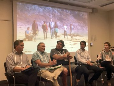 Steve Diggon, John Bones, Dallas Smith, Charlie Short and Meaghan Calcari-Campbell participated in a panel discussion about the Marine Plan Partnership at the international Resilience Conference 2017 in Stockholm. Photo credit: Mary Turnipseed.