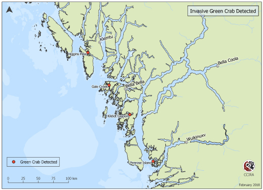 Locations of green crab