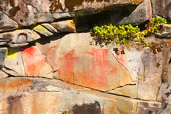 Pictographs are vulnerable to weathering. (Photo credit: Barb Dinning)